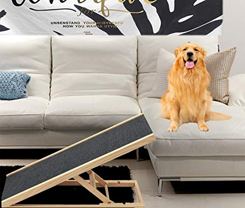 Best Companions Durable Wood Ramps,good Couch Access For Dogs And Cats Support Up To 110lb,non Slip Carpet Surface,great For Older Animals,four Different Adjustable Heights Pets Ramp,11.8 23.6inch
