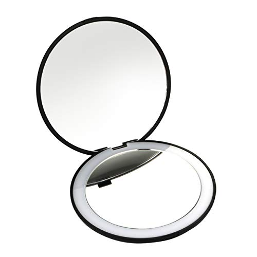 Best Travel Mirror 10x Magnifying Mirror With Light Small Compact Mirror For Pocket Portable Led Lighted Makeup Mirror, Foldable Travel Mirror 1x & 10x Magnification