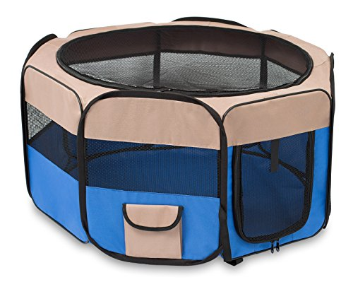 Birdrock Home Internet's Best Soft Sided Pet Playpen Small Portable Puppy Pet Enclosure Dog Or Cat Indoor Outdoor Mesh Kennel Easy Travel Folding And Collapsible Cage Blue And Tan