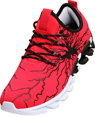 Bronax Mens Running Off To College Shoes Slip On Lightweight Best Athletic Gifts For Sport Stability Gym Travel Tennis Road Trail Cushion Run Sneakers For Men Size 8 Red