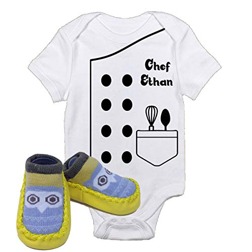 Chef Ethan Future Halloween Onsies With Yellow Owl Shoes Best Baby Gift Idea (3 6 Months With Shoes)