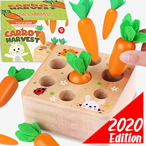 Cheffun Wooden Montessori Toys For Toddlers 1 Year Old Baby Toy Carrots Harvest Shape And Sizes Sorting Wooden Puzzle Blocks Game Best Educational Toys Games For Kids 1 2 3 4 Year Old Boys And Girls
