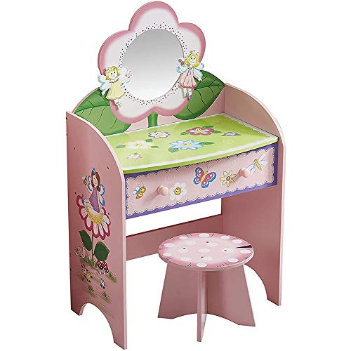 Childrens Vanity Table Set With Drawers,wooden Kids Princess Makeup Dressing Table With Mirror And Stool,for Little Girls Best Gift