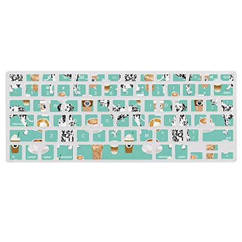Dalmatians Cute Mint Coffee Best Dalmatian Dog Print Ultra Thin Silicone Laptop Keyboard Cover Skin Protector Keypad Dust Proof Membrane For A1466 Apple Macbook (13.3inch)