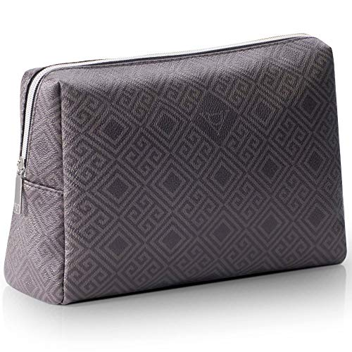 Design De Valeur Extra Large Makeup Bag. Sturdy Vegan Leather. Luxurious & Portable Zippered Cosmetic Pouch, Big & Cute Travel Toiletry Bag For Women. Best For Organizing Makeup & Skincare Items