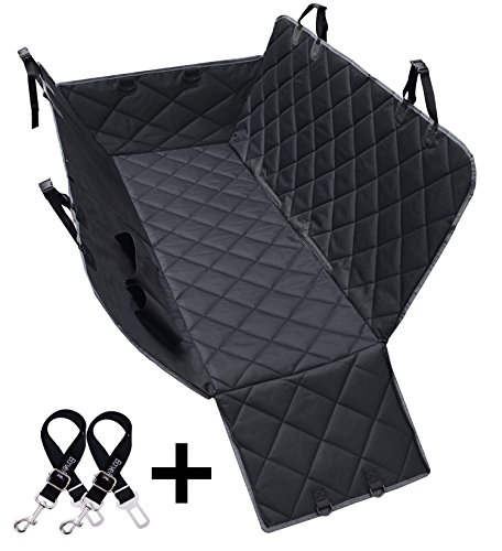 Dog Seat Covers, 600d Waterproof Pet Car Seat Covers With 2 Dog Seat Belts & Zipper & Pocket Nonslip Back Seat Cover Cat Dog Hammock Convertible Extra Side Flaps Best For Cars Trucks Suvs