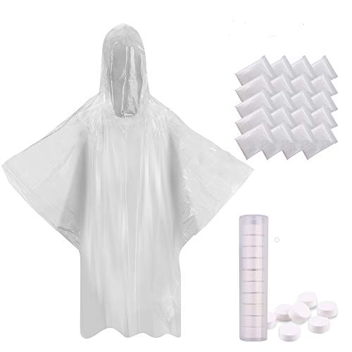 Emergency Poncho 20 Packs Bulk Rain Ponchos For Adults 20 Clear Disposable Poncho Adult Size W/10 Compressed Towels Best Emergency Gear For Disney Theme Park, Outdoor Festivals, Hiking, Travel