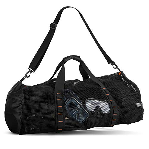 Fitdom Extra Large Mesh Duffle Bag For Scuba Dive Or Snorkel Equipment. Best For Water Sports & Beach Activities Like Swimming, Diving & Snorkeling. Perfect For Travel, Storage Swim Gym Gears & Balls