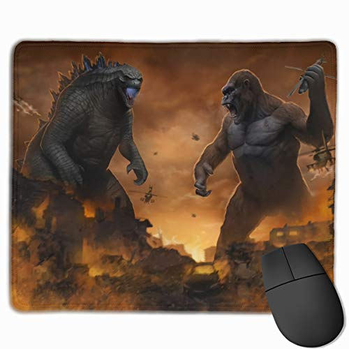 Godzilla Vs Kong Mouse Pad For Laptop, Extended Comfortable Mouse Mat With Stitched Edge, Best Desk Pad For Desktop 9.8x11.8 In