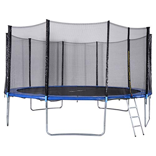 Gymax Trampoline, Spacious Round Trampoline Combo Bounce Jump With Safety Enclosure Net Jumping Met And Spring Pad Ladder, Best Gift For Kids Children (15ft)
