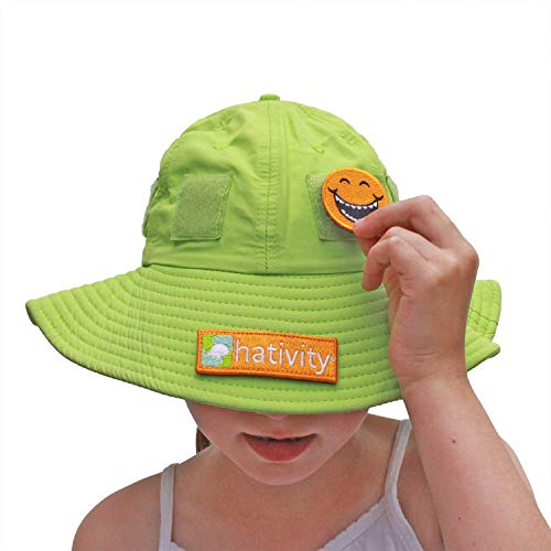 Hativity Kids Boy Girl Upf 50+ Best Interactive Sun Hat, Sun Protective, Wide Brim, Breathable (patches Sold Separately) (green, Small (3 6))