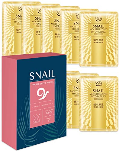 Hawwwy Snail Face Mask Sheet 10 Pack Full Natural Snail Mucin Facial Masks For Skin Care Repair Moisturizer Anti Aging Acne Best Peel Off Facemasks Sheet Mask Products For Men Or Women