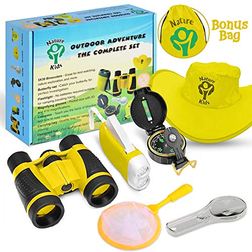 Heroes Outdoor Exploration Kit, Children's Toy Binoculars, Flashlight, Compass, Magnifying Glass, Backpack Adventure, Camping, Stem Educational Toys Best Gift For Boys And Girls Age 3, 4, 5, 6, 7