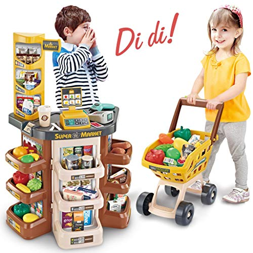 Infidev Children Grocery Store Playset,kids Toy Supermarket Store With Shopping Cart And Scanner Realistic Pretend Play Child Educational Toy Kid Best Gift For Kids Ages 3 And Up (multicolour)
