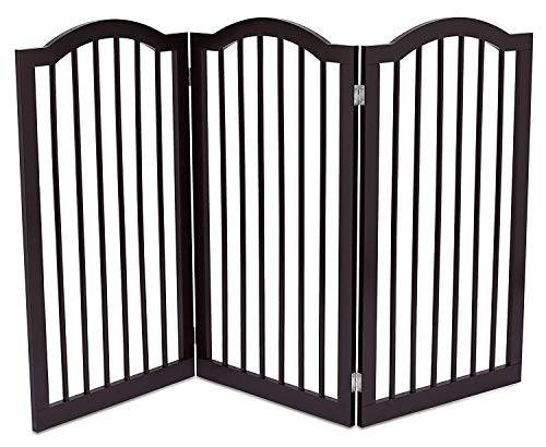 Internet's Best Pet Gate With Arched Top 3 Panel 36 Inch Tall Fence Free Standing Folding Z Shape Indoor Doorway Hall Stairs Dog Puppy Gate Fully Assembled Espresso Mdf