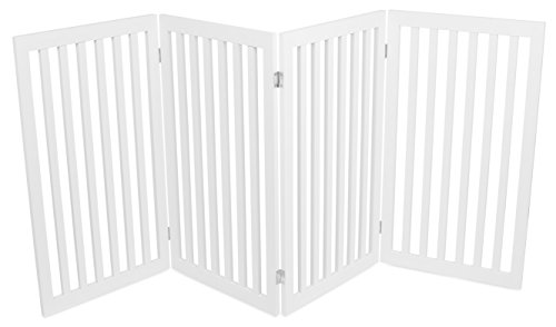 Internet's Best Traditional Pet Gate 4 Panel 36 Inch Tall Fence Free Standing Folding Z Shape Indoor Doorway Hall Stairs Dog Puppy Gate White Mdf