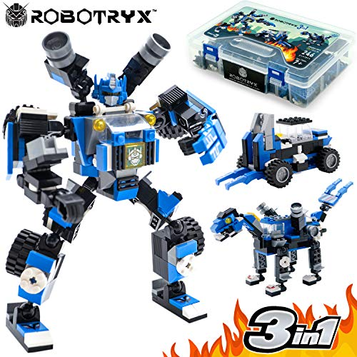 Jitterygit Robot Stem Toy Figure | 3 In 1 Fun Creative Set | Construction Building Toys For Boys And Girls Ages 6 14 Years Old | Best Toy Gift For Kids | Free Poster Kit Included