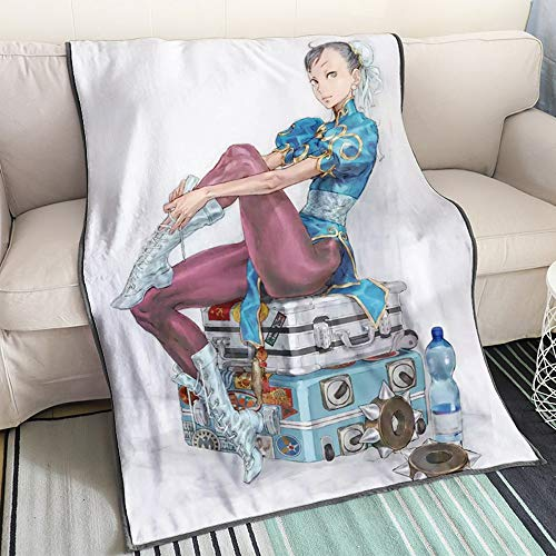 Kaiwenli Street Fighter Chun Li Sitting On The Suitcase/cartoon Cartoon Blanket/single Sided Pattern/soft And Comfortable/best Bedding For Winter Heating/suitable For Adults, Children, Ota