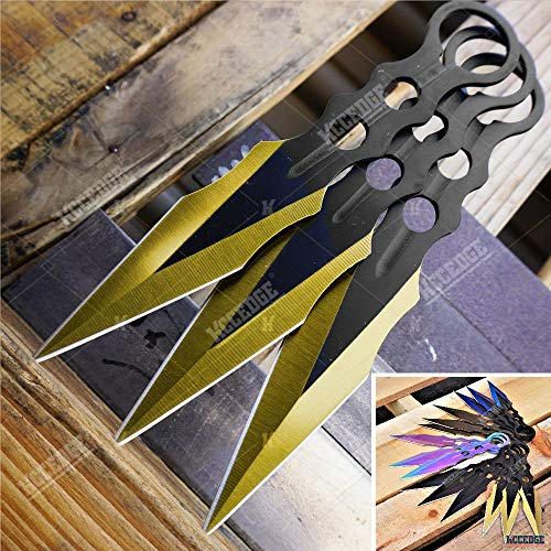 Kccedge Best Cutlery Source Tactical Knife Survival Knife Hunting Knife Throwing Knives Set Fixed Blade Knife Razor Sharp Edge Camping Accessories Camping Gear Survival Kit Survival Gear 74663 (gold)
