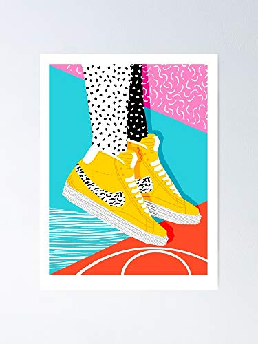 """Kid You Not Memphis Retro Shoes Fashion Throwback 80s Style Trends Minimalist Art Neon 12.75"""" X 17"""" Inch Poster No Frame Board For Office Decor, Best Gift Dad Mom Grandmother And Your Friends"""