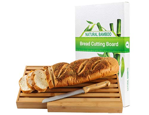 Large Bamboo Bread Cutting Board With Large Bread Knife, And Crumb Catcher/tray To Cut Homemade Bread, Loaf Cake And Bagel/full Bread Cutting Set, Best Present & Gift For Housewarming