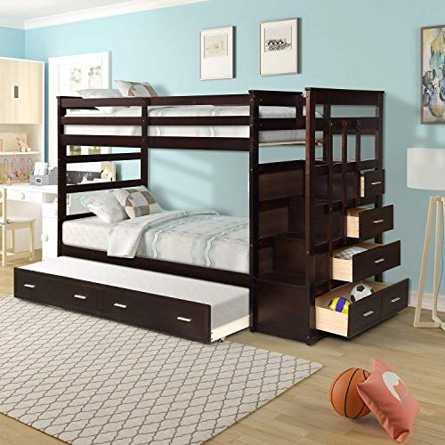 Leekous Luxurious Twin Over Twin Bunk Bed With Trundle, Thicken Solid Wood Bunk Bed Frame With 4 Storage Drawers, Stairs, Safety Guard Rail For Kids, Teens Best Bedroom Furniture (espresso)