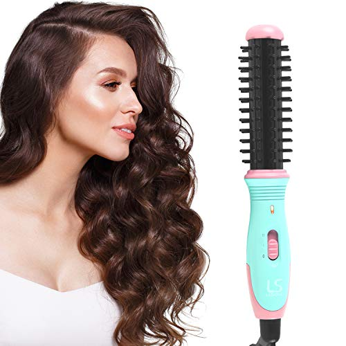 Lesasha Curl Comb Best Travel Mini Size Hot Air Brush Short Hair Styler And Dryer, One Step Curler Easy Volumizer Electric Iron Brushes Wand Ceramic Coat Fast Heating Thermal Portable Curler Roller