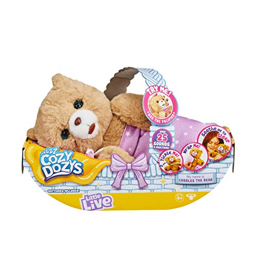 Little Live Pets Cozy Dozy Cubbles The Bear Over 25 Sounds And Reactions | Bedtime Buddies, Blanket And Pacifier Included | Stuffed Animal, Best Nap Time, Interactive Teddy Bear