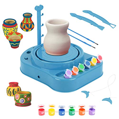 Lumumi Children Creativitive Toy, Kids Bginners Pottery Wheel Kit With Clay Paints And Tools Diy Toy Best Gift (blue)