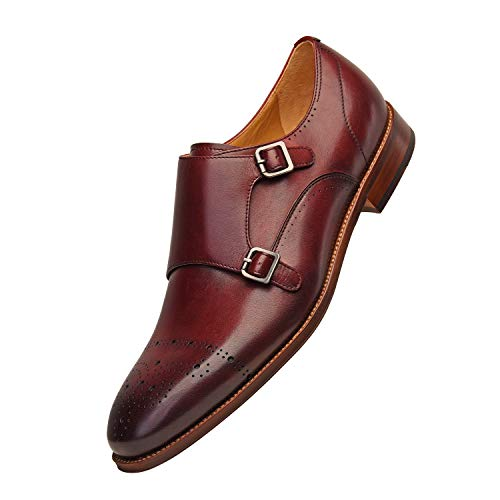 Men's Full Grain Leather Shoes Double Monk Strap Brogue, 2018 Best Design, Dress Wedding Formal Casual Shoes (10 M Us, Burgundy)
