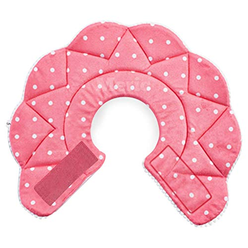 "Meric Recover Collar For Cats And Small Dogs, Viral Cute And Practical, Better Recovery, Best Solution For Short Or Long Usage, Pink With White Polka Dots, Ideal For Pets With 7.5 9"" Neck, 1 Pc"
