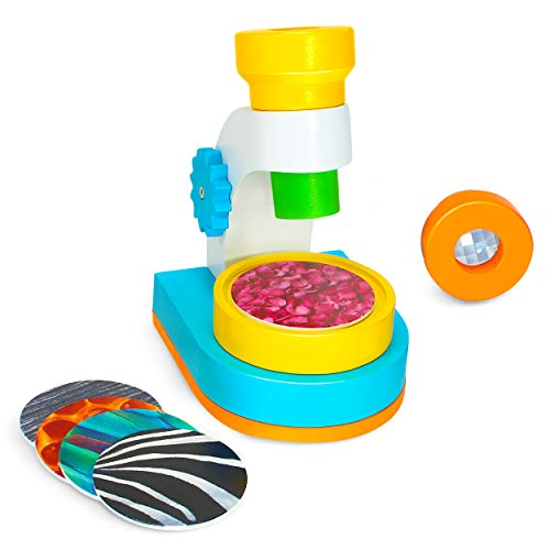 My First Microscope Science Kit By Kidzlane: Children's Wooden Microscope With 2 Viewing Lenses And 10 Picture Slides Best Stem Toys For Toddlers & Kids Ages 3+
