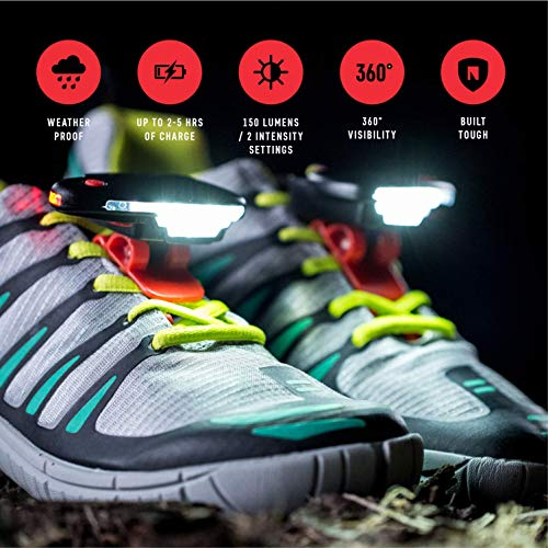 Night Runner 270 Shoe Lights Rechargeable & Waterproof Battery Light For Runners, Dog Walking, Hiking Best Safety Running Gear For High Visibility At Night Time Or Low Light