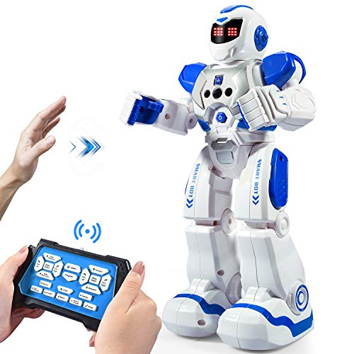 Onadrive Remote Control Robot For Kids Rc Intelligent Programmable Robot Smart Robot Toys With Dancing, Singing, Led Eyes, Gesture Sensing Robot Kit, Best Gifts For Children (blue)