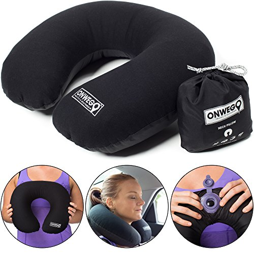 Onwego Inflatable Neck Pillow For Travel And Airplane/best Blow Up U Shape Plane Pillow Lightweight Stay Cool Fabric Head And Neck Support Mouth Inflating, No Pump Needed (black)