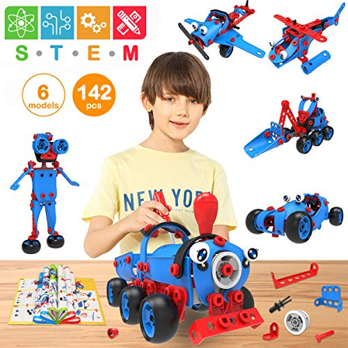 Pakoo Stem Toys Kit 6 In 1 Educational Construction Building Blocks Toys Set For Boys & Girls Ages 6 7 8 9 10+ Year Old | 142 Piece Creative Stem Learning Toys | Best Birthday Toy Gifts For Kids