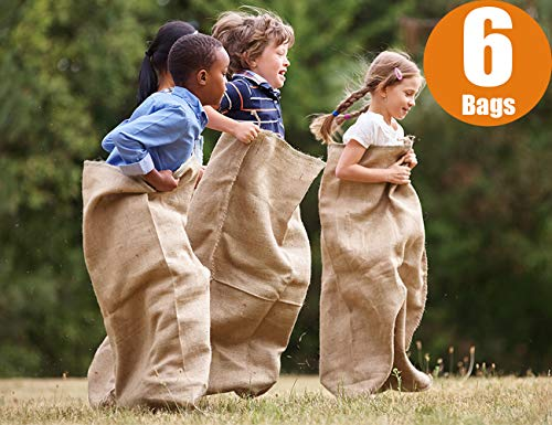 """Premium Burlap Potato Sack Race Bags 24"""" X 40"""", Sturdy, Rugged, 100% Natural Eco Friendly Jute, Perfect Birthday Party Game For Kids & Adults. Best For School, Church, Pinic (pack Of 6)"""