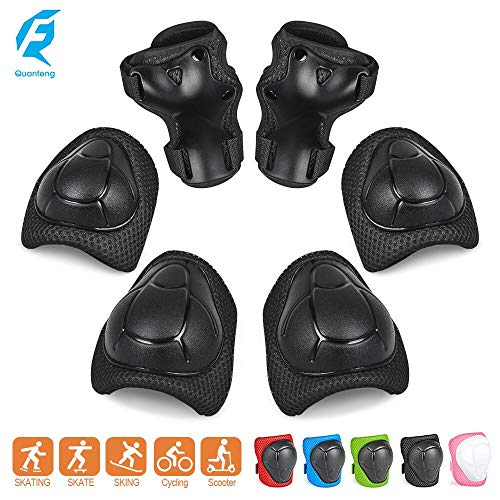 Quanfeng Qf Knee Pads Kids Knee And Elbow Pads Wrist Guards Best Knee Pads For Kids Roller Skates Cycling Bmx Bike Skateboard Inline Skating Scooter Riding Protector Guards Pads Set (black)