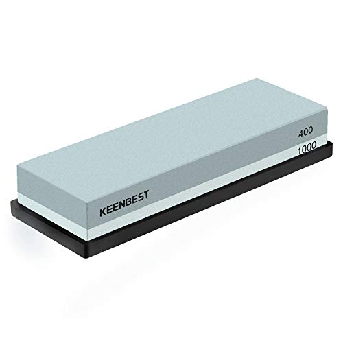 Sharpening Stone Whetstone Set 2 Side Grit 400/1000 Keenbest Kitchen Knife Sharpener Stone, Best Wet Stones For Sharping Knives Best Kit With Non Slip Rubber Base