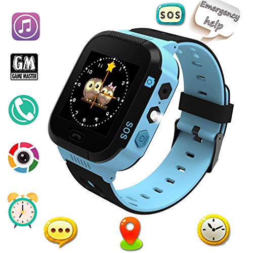 Smart Watches, Watches For Kids With Gps, Children Tracker Watches Feature Real Time Positioning/sos Emergency Alarm/voice Messages, Kids Wrist Watches, The Best Birthday Gifts Ever,blue