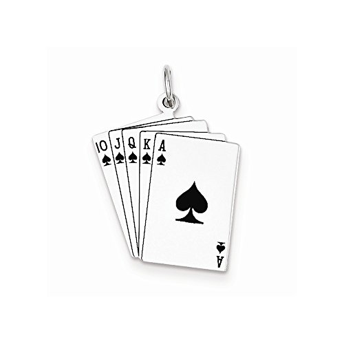 Sterling Silver Playing Cards Charm, Best Quality Free Gift Box