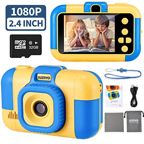 Suziyo Kids Camera, Digital Video Camcorder Dual Lens 1080p 2.4 Inch Hd,best Birthday Electronic Toys Gifts For Toddlers Age 3 10 Years Old Boys Grils Childen (with 32g Micro Sd Card,blue)