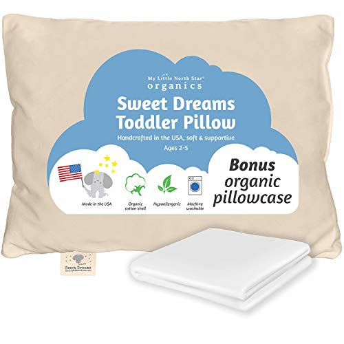 Toddler Pillow Made In Usa & Pillowcase 100% Organic Cotton 13x18 Machine Washable Chiropractor Recommended Soft Safe Hypoallergenic Best For Toddlers, Kids, Infant Perfect For Travel