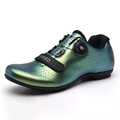 Unisex Cycling Shoes Adults' Casual Bike Shoes Lock System Anti Slip Lightweight Road Cycling Shoes Breathable Road Bicycle Shoes Best Gift For Family And Friends,green,36