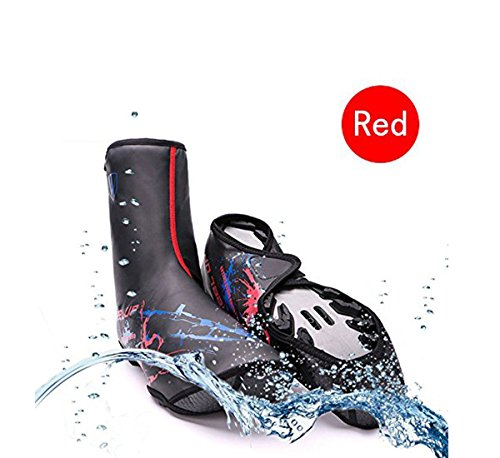 V Best Bike Shoe Covers, Outdoor Sports Cycling Shoe Covers Waterproof Warmer Overshoes Shoe Cover For Mtb Winter Rain Cycle Bicycle Mountain Road Toe Cover (red)