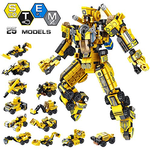 Vatos Stem Building Toys, 573 Pcs Robot Stem Toys For 6 Year Old Boys 25 In 1 Engineering Building Bricks Construction Vehicles Kit Building Blocks Best Gifts For Kids Aged 5 6 7 8 9 10 11 12 Yr Old