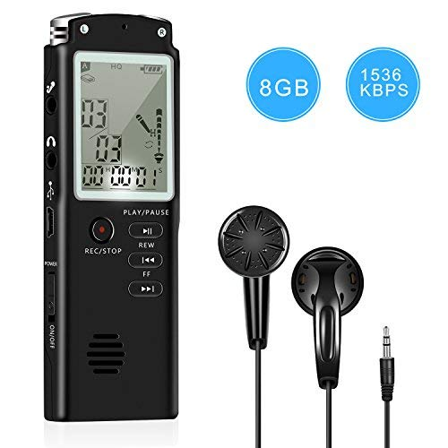 Voice Recorder Dual Microphone 8gb Digital Voice Activated Recorder With Mp3 Player, Rechargeable Hd Audio Recorder, A B Repeat And 1 Touch Recording Best For Lectures/meeting/interview (1536kbp