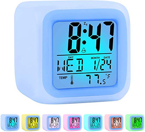 Zalik Alarm Clock Kids Wake Up Easy Setting Digital Travel For Boys Girls, Large Display Time/date/alarm With Snooze, Bedside Clock Handheld Sized, Led Night Light Clock Best Gift For Kids