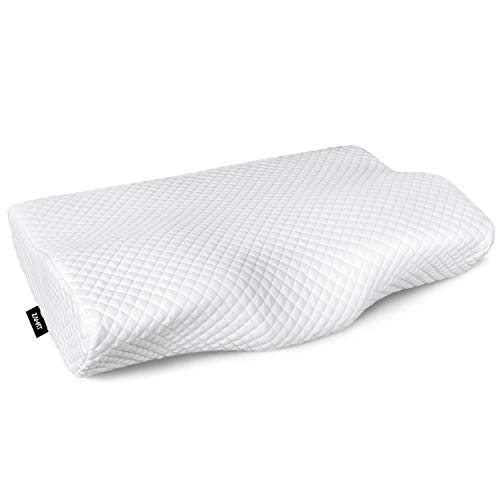 Zamat Contour Memory Foam Pillow For Neck Pain Relief, Adjustable Ergonomic Cervical Pillow For Sleeping, Orthopedic Neck Pillow With Washable Cover, Best Bed Pillows For Side, Back, Stomach Sleepers