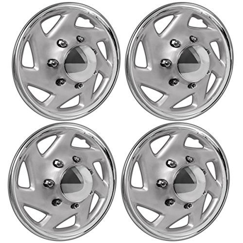 16 Inch Hubcaps Best For Ford Cargo Van & Truck Set Of 4 Wheel Covers 16in Hub Caps Chrome & Silver Rim Cover Car Accessories For 16 Inch Wheels Snap On Hubcap Auto Tire Replacement Exterior Cap